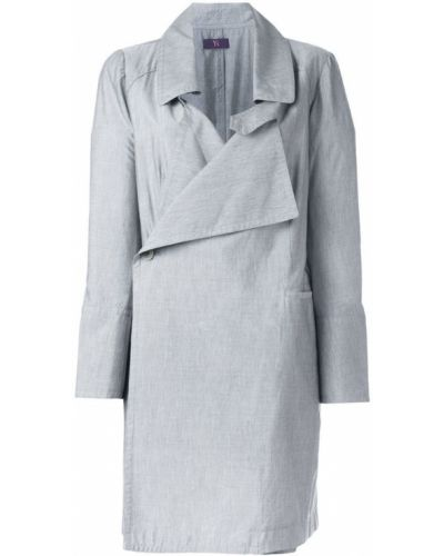 Серое пальто классическое с капюшоном с воротником Yohji Yamamoto Pre-owned