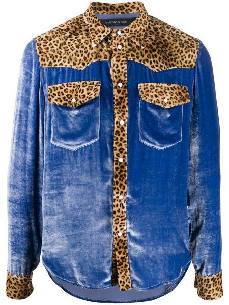 Niebieska koszula z długimi rękawami z wiskozy Garçons Infideles