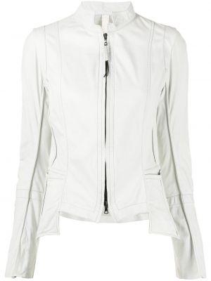 Белая кожаная длинная куртка с длинными рукавами Isaac Sellam Experience