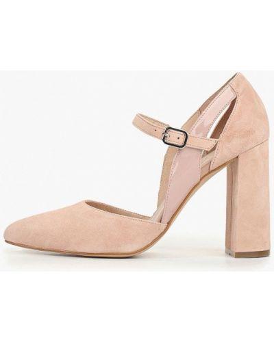 Туфли на каблуке замшевые розовый Zign