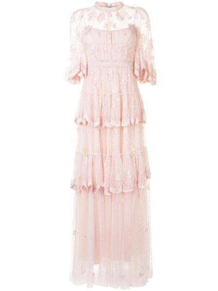 Розовое платье из фатина с вышивкой с воротником Needle & Thread