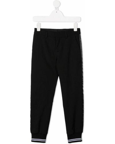 Брючные шерстяные черные брюки с поясом Neil Barrett Kids