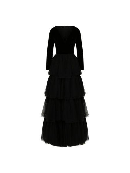 Шелковое платье макси - черное Sara Roka