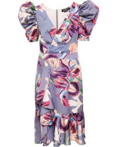 Фиолетовое платье миди с V-образным вырезом с оборками на молнии Patbo