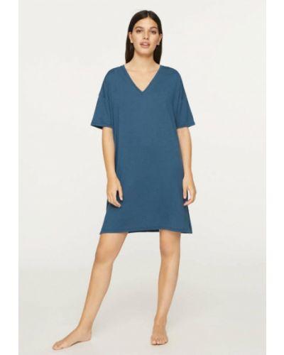 Синее домашнее платье Oysho