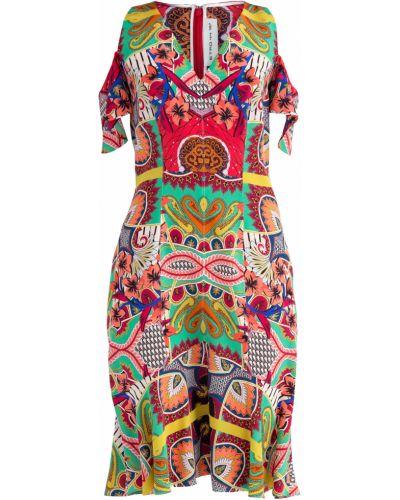 Платье с V-образным вырезом с открытыми плечами Etro