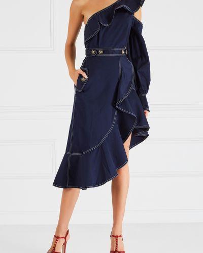 Джинсовое платье на одно плечо с запахом Self-portrait