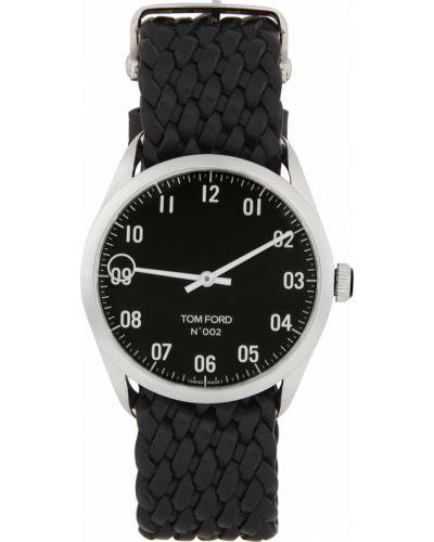 Czarny zegarek na skórzanym pasku srebrny z diamentem Tom Ford
