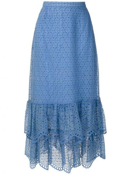 Платье макси с вышивкой с перфорацией свободного кроя на молнии Reinaldo Lourenço