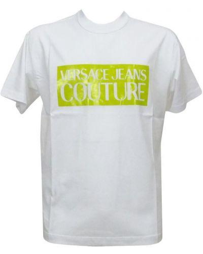 Zielony z rękawami t-shirt z dekoltem Versace Jeans Couture