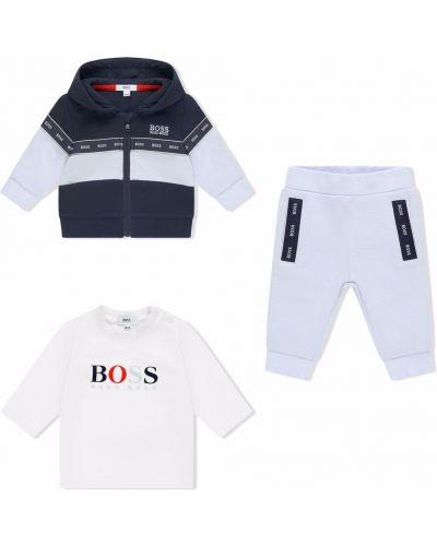 Biały dres krótki rękaw Boss Kidswear