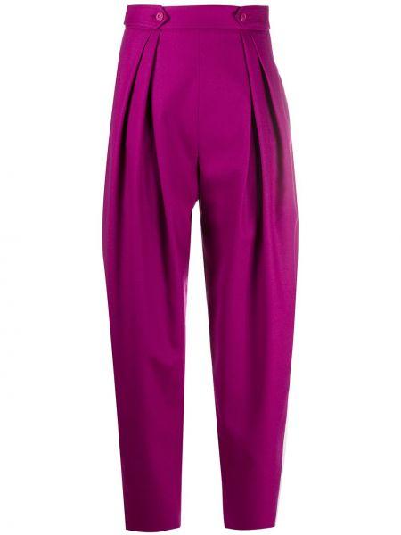 Брючные шерстяные розовые брюки с карманами Alberta Ferretti