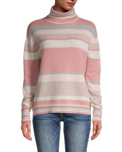 Różowy z kaszmiru długi sweter w paski The Cashmere Project