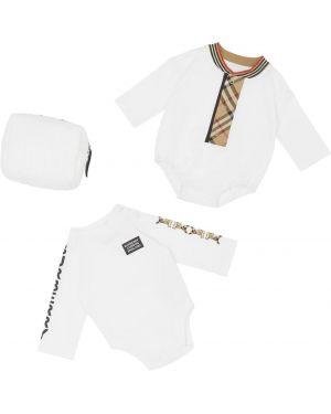 Ватное хлопковое с рукавами белое боди Burberry