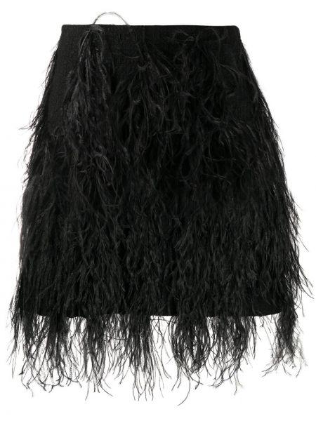 Шерстяная черная приталенная юбка карандаш с перьями Giambattista Valli