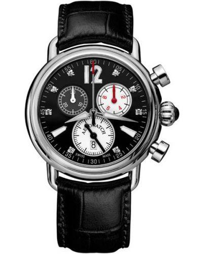Часы на кожаном ремешке кварцевые водонепроницаемые с камнями Aerowatch