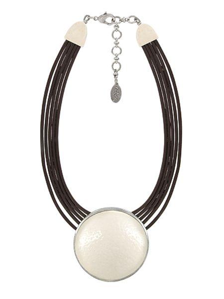 Бежевое кожаное ожерелье Nature Bijoux