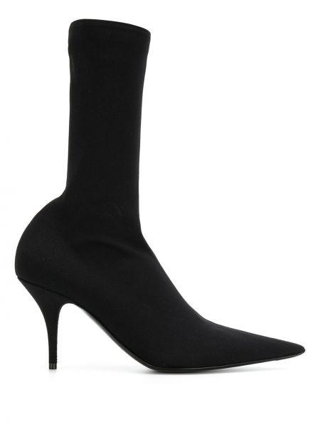 Skórzane botki z ostrym nosem na obcasie Balenciaga
