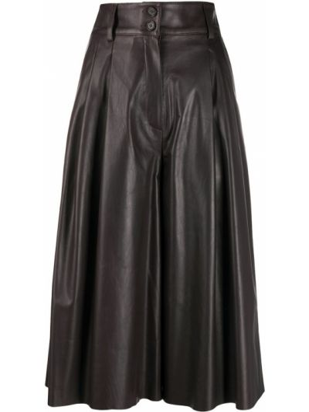 Коричневые плиссированные кожаные кюлоты Dolce & Gabbana