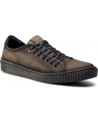 Buty sportowe skorzane - brązowe Quazi