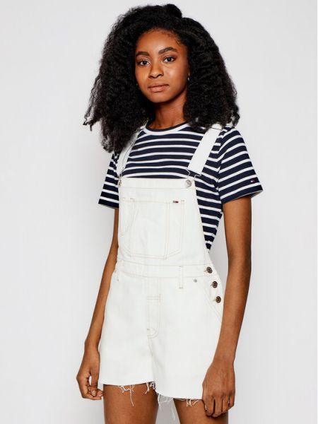Biały kombinezon jeansowy oversize Tommy Jeans