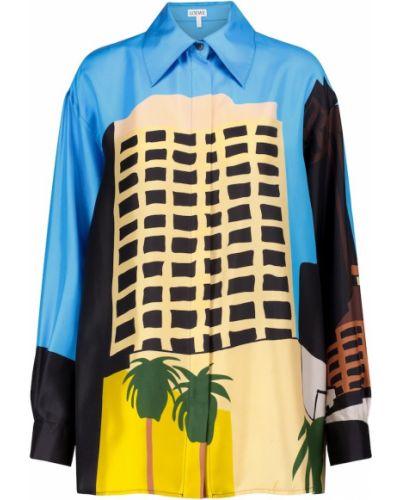 Niebieska koszula z jedwabiu do pracy Loewe