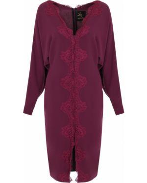 Приталенное бордовое вечернее платье с V-образным вырезом на молнии Rhea Costa