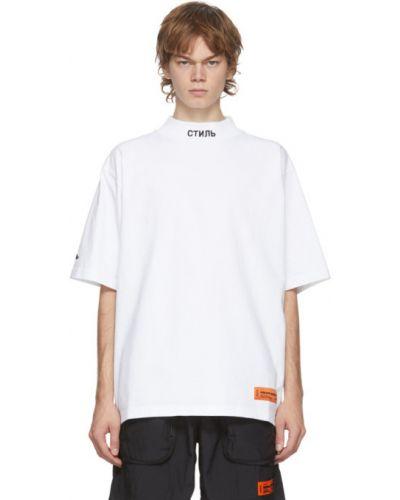 Bawełna czarny koszula krótkie z krótkim rękawem z mankietami z haftem Heron Preston