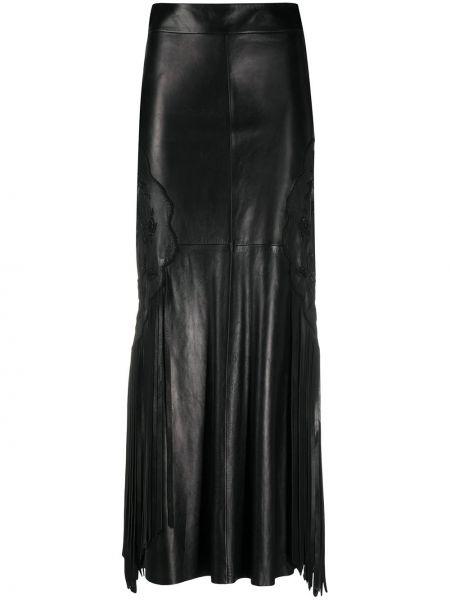 Z wysokim stanem skórzany czarny spódnica maxi frędzlami A.n.g.e.l.o. Vintage Cult