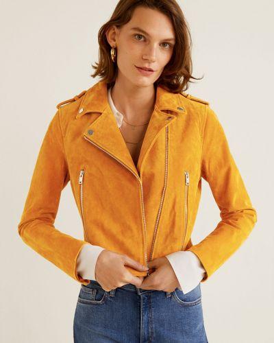 Утепленная куртка укороченная в клетку с поясом Mango