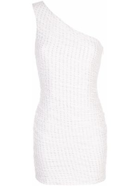 Biała sukienka mini z falbanami z jedwabiu Haney