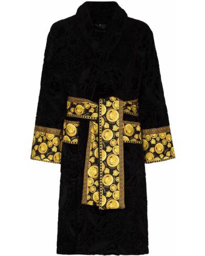 Długi szlafrok bawełniany - czarny Versace