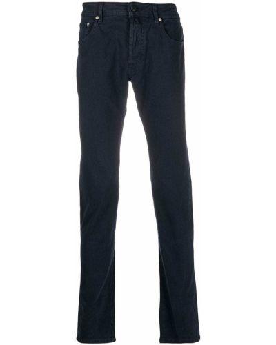 Хлопковые синие джинсы-скинни на пуговицах Jacob Cohen