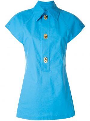 Синяя приталенная классическая рубашка с короткими рукавами Bottega Veneta