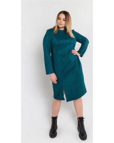 Повседневное замшевое зеленое платье миди оверсайз Vovk