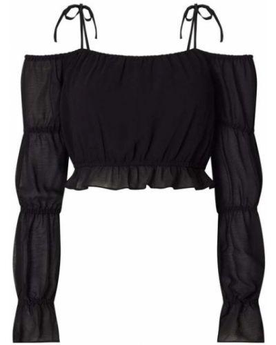 Czarna bluzka z odkrytymi ramionami z falbanami Na-kd