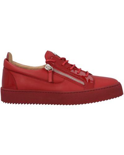 Czerwone sneakersy płaska podeszwa Giuseppe Zanotti