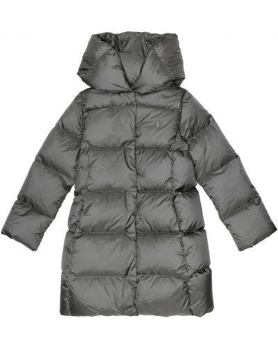 Szary pikowana nylon płaszcz Polo Ralph Lauren Kids