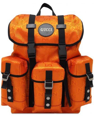 Pomarańczowy plecak skórzany klamry Gucci