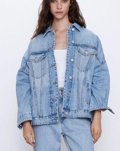 Джинсовая куртка из овчины - синяя Zara