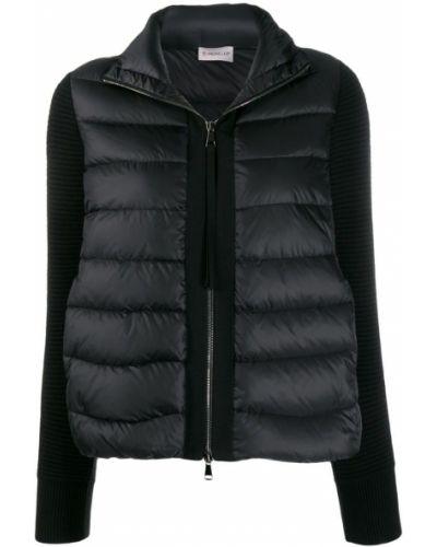 Длинная куртка черная серебряная Moncler