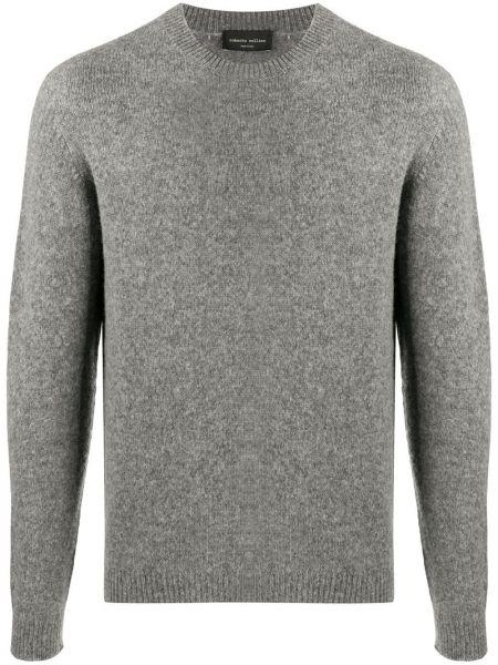 Klasyczny sweter włosy wielbłąda z długimi rękawami z mankietami Roberto Collina