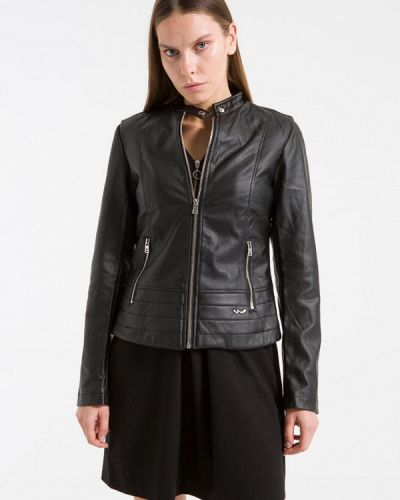 Кожаная куртка весенняя черная Ltb