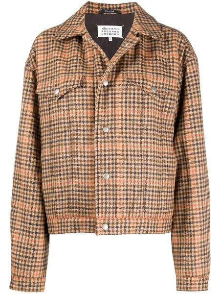 Бежевая длинная куртка на пуговицах с воротником с карманами Maison Margiela