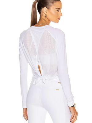 Biały top z długimi rękawami z nylonu Alala