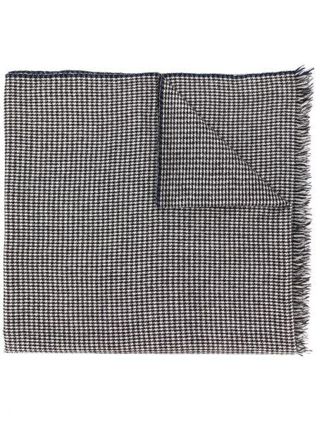 Вязаный кашемировый черный шарф с бахромой Holland & Holland