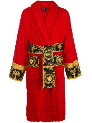 Красный хлопковый домашний халат Versace Home