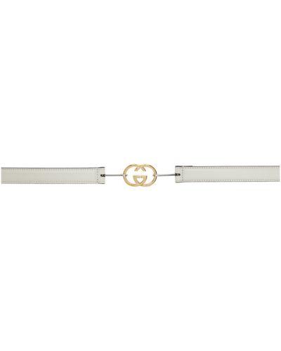Кожаный белый ремень с пряжкой с поясом Gucci