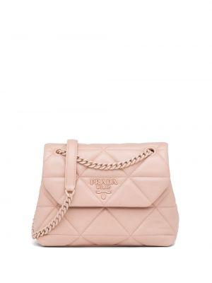 Różowa torebka na łańcuszku skórzana pikowana Prada
