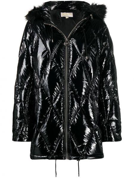 Черное пуховое длинное пальто с капюшоном Michael Michael Kors